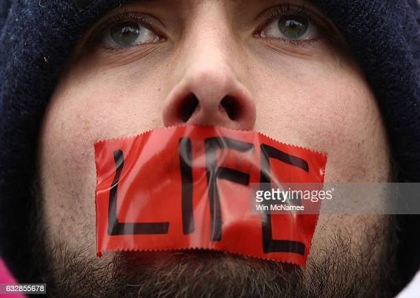 An antiabortion advocate rallies outside of the Supreme Court during the March for Life January 27 2017 in Washington DC This year marks the 44th...
