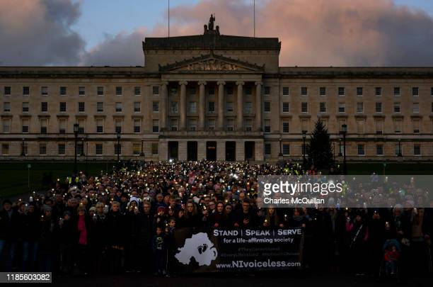An antiabortion protest organised by the group NI Voiceless takes place at Stormont on November 30 2019 in Belfast Northern Ireland The protest comes...