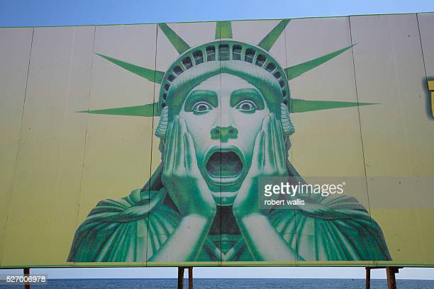 An antiAmerican billboard on the Malecon seafront shows the statue of liberty in shock over the behaviour of the US government