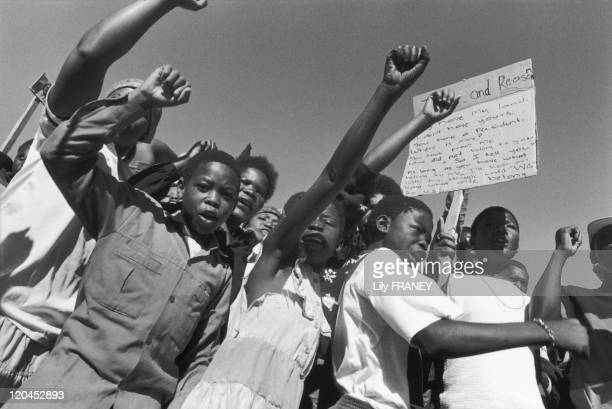 An anti-apartheid demonstration in Soweto, South Africa in 1989.