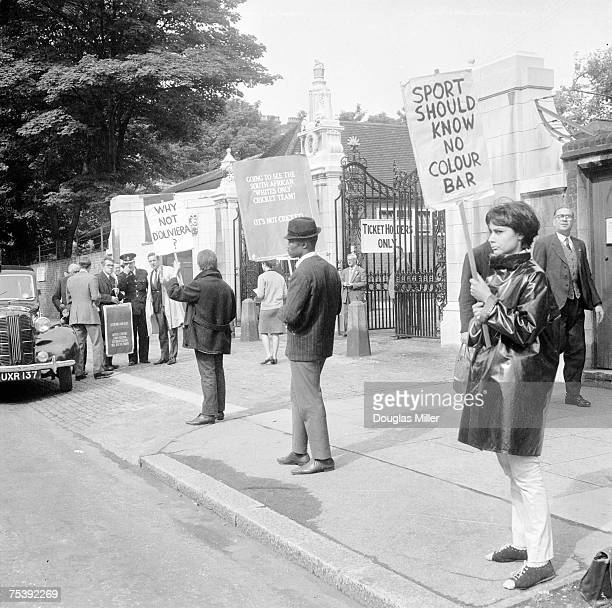 An antiapartheid demonstration outside Lords cricket ground where South Africa are due to play a test match against England 22nd July 1965