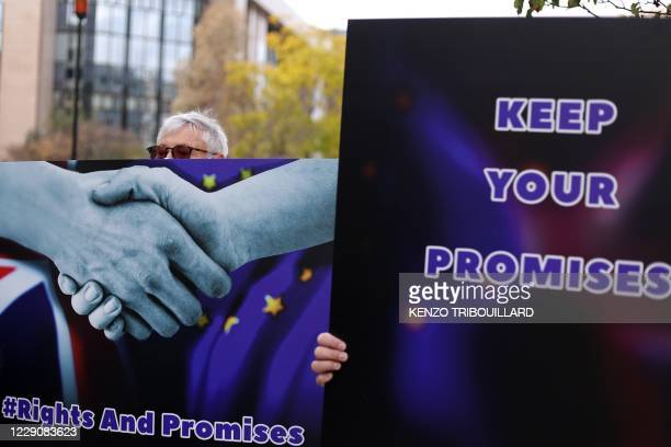 An anti-Brexit activist holds a placard to protest near the European Council Building prior to a two days European Union summit in Brussels, on...