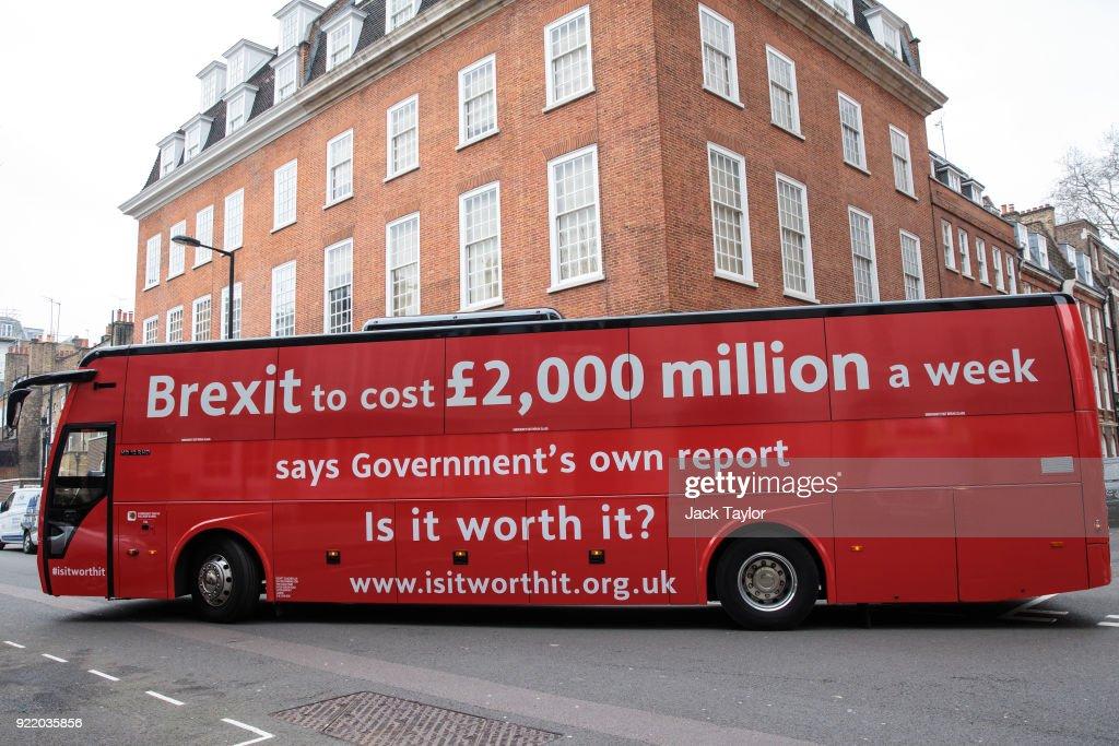 Anti-Brexit Bus Tours The UK : News Photo