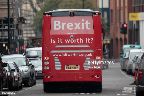 An antiBrexit campaign battle bus drives through Westminster on February 21 2018 in London England The crowdfunded coach is to tour the country...