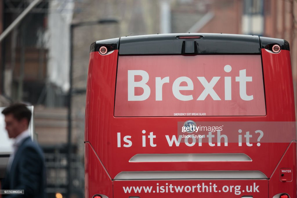 An anti-Brexit campaign battle bus drives through Westminster on February 21, 2018 in London, England. The crowd-funded coach is to tour the country making 33 stops two years after the Vote Leave campaign drove a similar bus around the UK with the now famous slogan: 'We send the EU £350 million a week let's fund our NHS instead'.