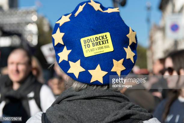 An antiBrexit campaigner wearing a blue hat with yellow stars emulating the European Union flag during a huge demonstration organised by the People's...