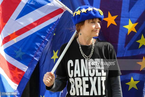 An antiBrexit demonstrator is seen wearing an EU flag cap and a tshirt with Cancel Brexit protesting outside the Houses of Parliament Ongoing protest...