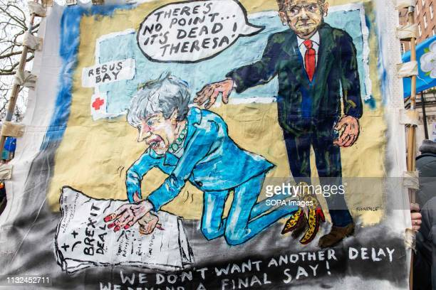 An antiBrexit illustration seen during the protest Over one million protesters gathered at the People's Rally in London demanding a second vote in...