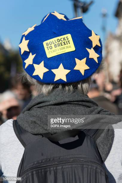 An antiBrexit protester is seen wearing a blue hat with yellow stars emulating the European Union flag during a huge demonstration organised by the...