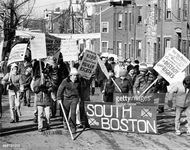An antibusing march takes place on G Street in South Boston on Mar 4 1976 New bus route assignments for Boston students to newly desegregated schools...