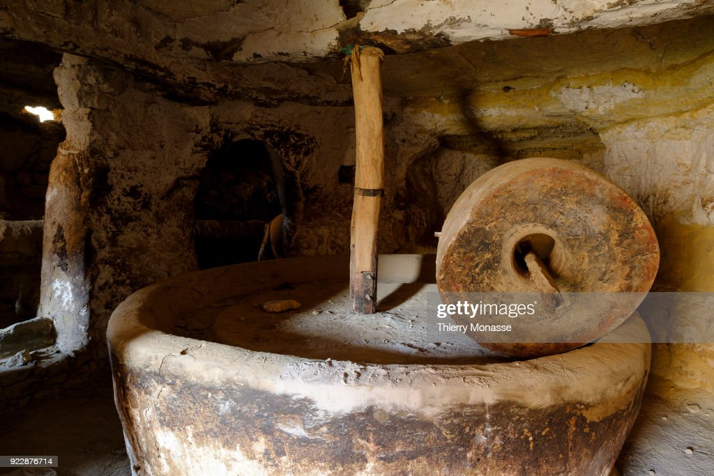 Oil mill in Douiret a ruined Berber village : News Photo