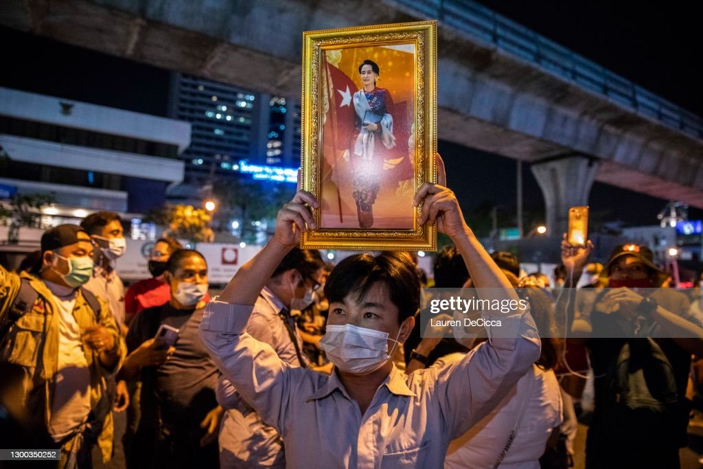 Candlelight Vigil To Support Democracy In Myanmar : News Photo