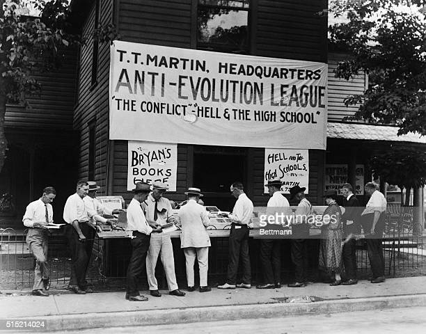 An AntiEvolution League holds a books sales at the opening of the Scopes Monkey Trial in which biology teacher John T Scopes is being prosecuted for...