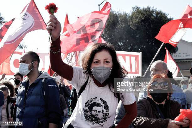 An anti-fascist demonstrator wears a T-shirt depicting Antonio Gramsci at Porta San Paolo, symbolic site of the Liberation from Nazifascism, on April...