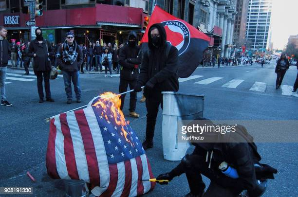 An AntiFascist group known as Philly Rebellion marked the arrest of more than 200 protesters one year ago at the inauguration of Dold Trump in...