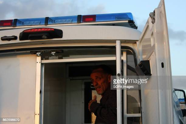 An AntiFracking Protestor gives the photographer the thumbsup immediately after his arrest following his and a fellow protestors successful 24 hour...