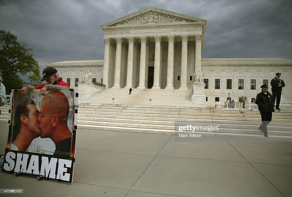 An anti-gay marriage protester stands in front of the U.S. Supreme Court Building April 27, 2015 in Washington, DC. The high court is scheduled to hear arguments April 28, in the case of Obergefell v. Hodges, that will ultimately decide whether states will still be allowed to ban same sex marriage and refuse to recognize the rights of couples married in other states.