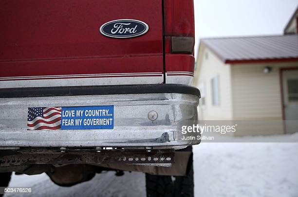 An antigovernment bumper sticker is displayed on a truck outside of a building at the Malheur National Wildlife Refuge Headquarters on January 5 2016...