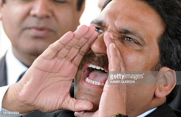 An antigovernment lawyer shouts antigovernment slogan outside the Supreme Court building in Islamabad on January 19 2012 Pakistan's embattled prime...