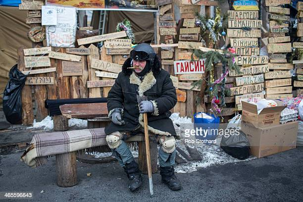 An antigovernment protester in Independence Square on January 28 2014 in Kiev Ukraine Ukraine's parliament is holding a special session called over...