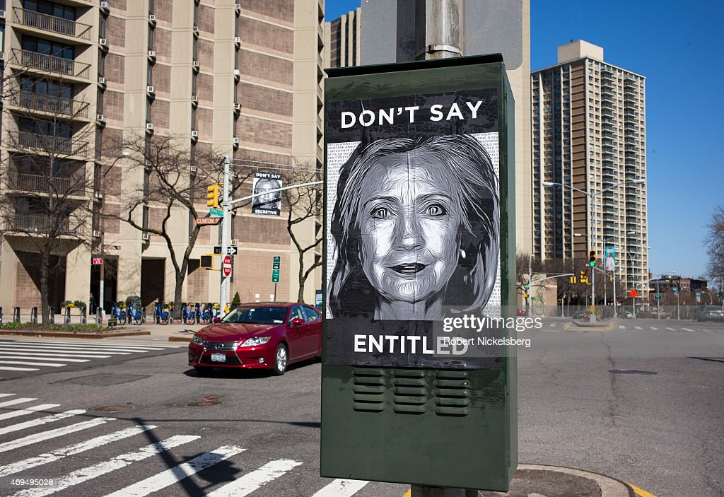 anti hillary posters hung near purported clinton campaign hq photos