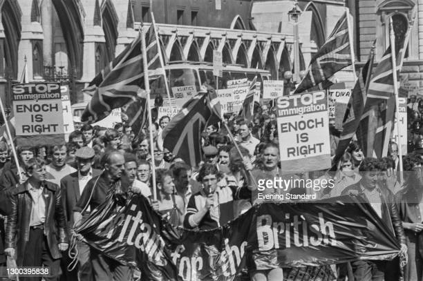 An anti-immigration demonstration in the UK, following the arrival of thousands of Asian citizens expelled from Uganda by President Idi Amin, 26th...
