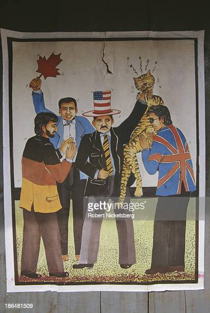 An antiLTTE poster following the US declaration of LTTE as a terrorist organisation Batticaloa Sri Lanka January 1998