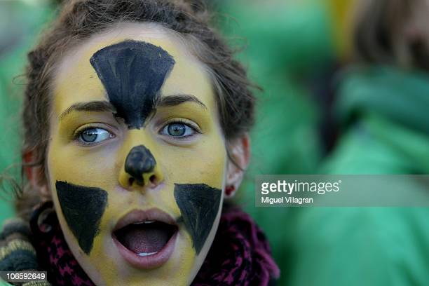 An antinuclear activist shouts slogans during a demonstration against the ongoing nuclear waste convoy to the storage facility in a salt deposit in...
