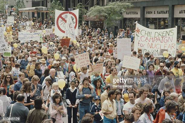 An anti-nuclear rally in New York City, 12th June 1982.