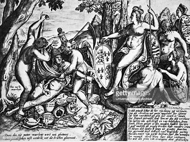 An antipapal satire depicting Queen Elizabeth I as the goddess Diana sitting in the judgement on Pope Gregory XIII during the Inquisition of the St...