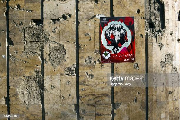 An antipoppy poster hangs in the main hallway of the Russian Cultural Center and infamous home to over 2000 Afghan drug addicts on April 23 2009 in...