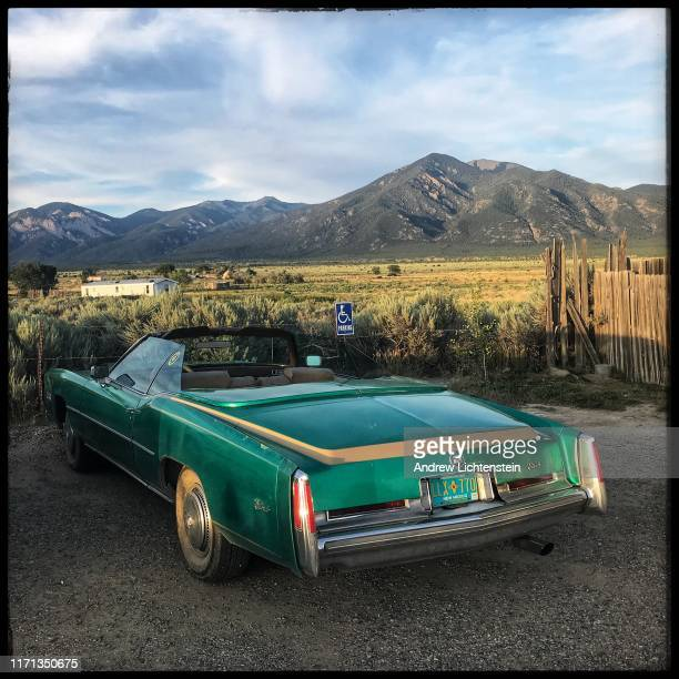 An antique Cadillac is parked on August 18 2019 in Taos New Mexico