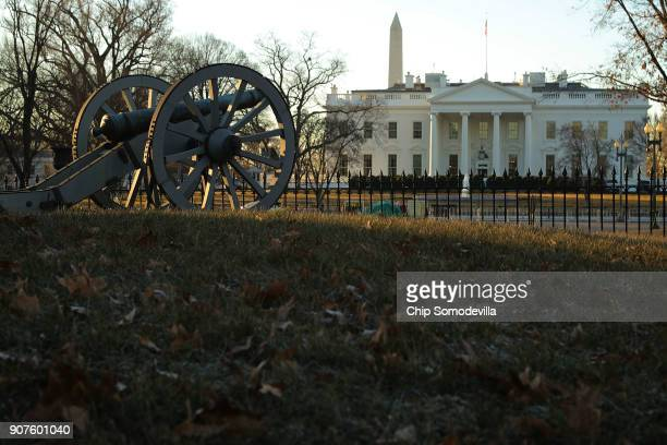 An antique canon stands near center of Lafayette Square on the north side of the White House January 20 2018 in Washington DC The federal government...