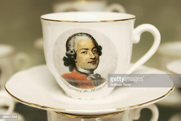 An antique cup in the interior of Wolfgang Amadeus Mozart is seen on January 23 2006 in Salzburg Austria Salzburg celebrates the 250th anniversary of...