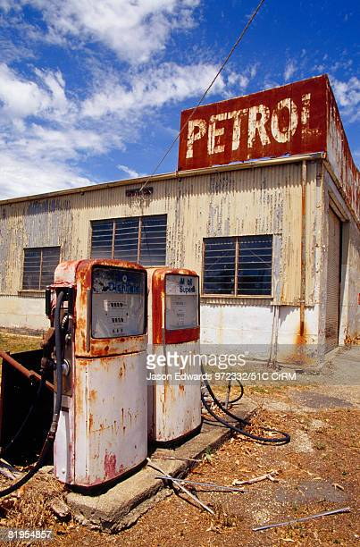 An antique rusting and abandoned gas station in a rural country town Yarck Victoria Australia