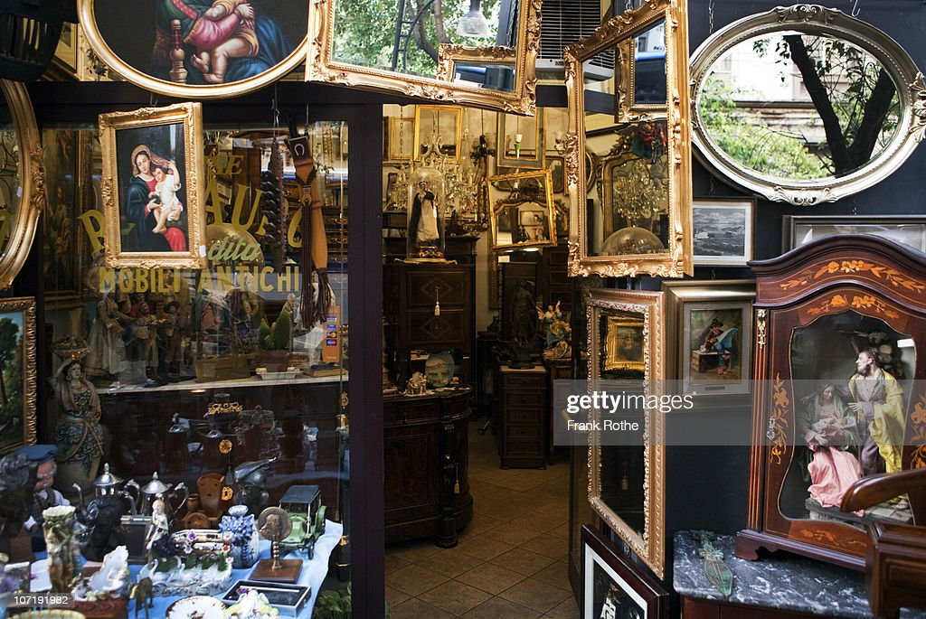 an antique store with old furniture, mirrors  : Stock Photo