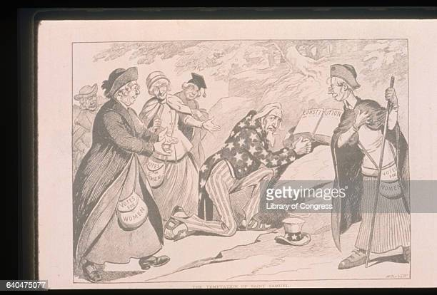 An antisuffrage cartoon in Puck Magazine depicts suffragist women harassing Uncle Sam