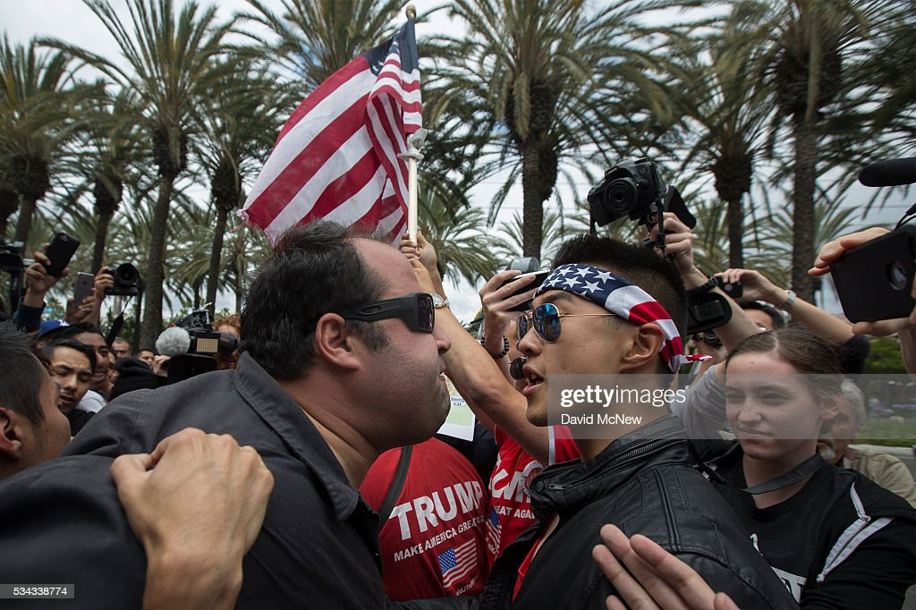 Protestors Rally Outside Trump Campaign Event In Anaheim : News Photo
