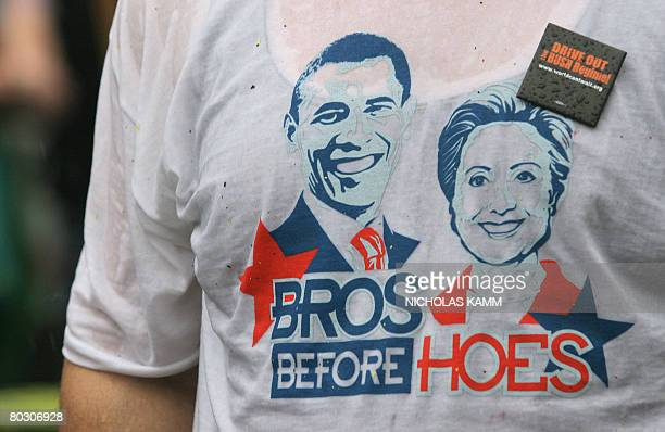 An antiwar demonstrator wears a Tshirt showing his preference for US Democratic presidential hopeful Barack Obama over rival Hillary Clinton while...