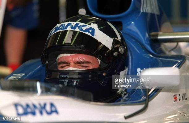 An anxious Damon Hill can't bare to watch his time as he managed a best of only 126810 in the 1st practice today before Sunday's British Grand Prix...