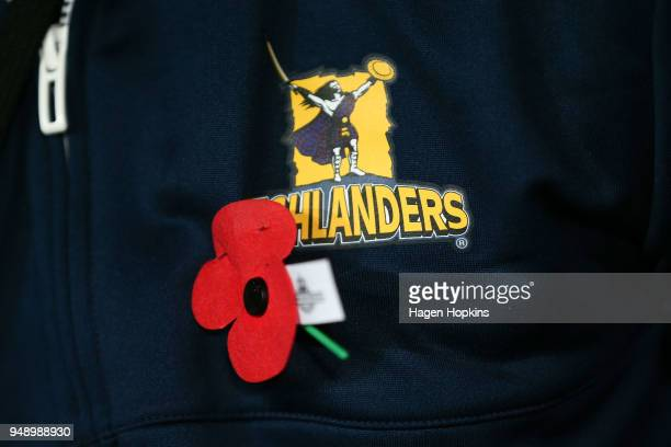 An ANZAC poppy pinned on a Highlanders top during the round 10 Super Rugby match between the Blues and the Highlanders at Eden Park on April 20 2018...