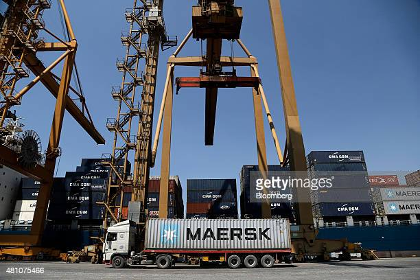 An AP MoellerMaersk A/S shipping container sits on a truck on the dockside at Thessaloniki port operated by Thessaloniki Port Authority SA in...