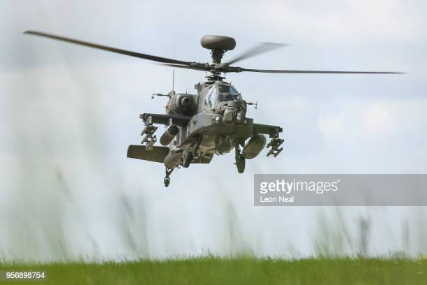 An Apache attack helicopter is seen during a photocall to display the involvement of 3 Regiment Army Air Corp in ceremonial duties during the Royal...