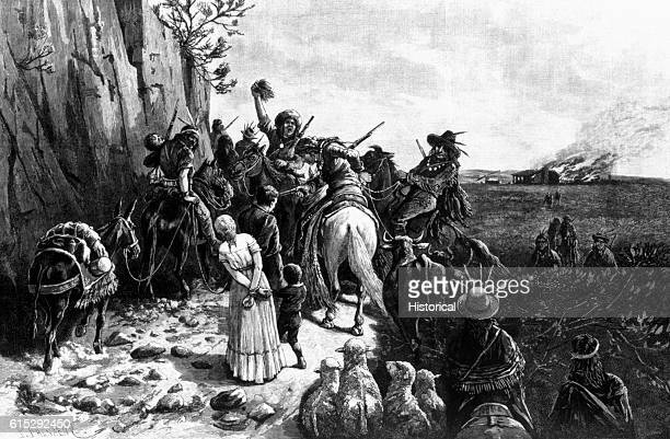An Apache raiding party attacks a white settler family's home burning the house and scalping members of the family