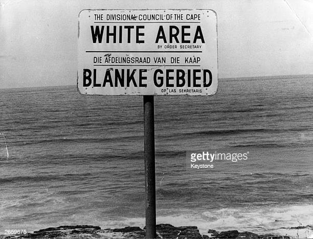 An apartheid notice on a beach near Capetown denoting the area for whites only