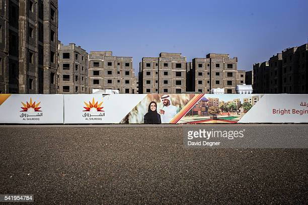 An apartment block is under construction for workers and low level managers on April 07 2016 in Jeddah Saudi Arabia The King Abdullah Economic City...