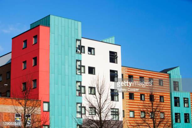 an apartment block on derby road in loughborough, leicestershire, uk. - loughborough stock pictures, royalty-free photos & images