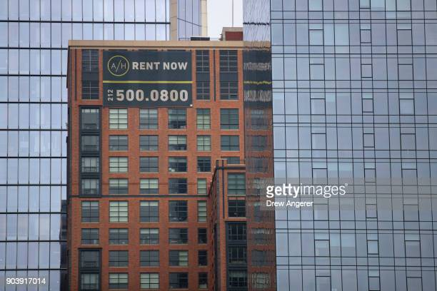 An apartment building advertising 'For Rent' stands in the Chelsea neighborhood in Manhattan January 11 2018 in New York City According to a real...