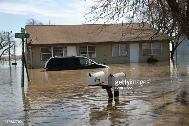 CRAIG MISSOURI MARCH 22 An apartment building is surrounded by floodwater on March 22 2019 in Craig Missouri Midwest states are battling some of the...