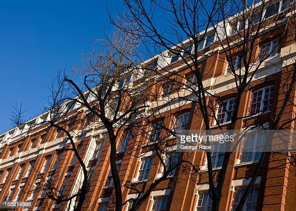 An apartment building near St Pancras train station is viewed on December 7 in London England Central London captures the Christmas holiday spirit...
